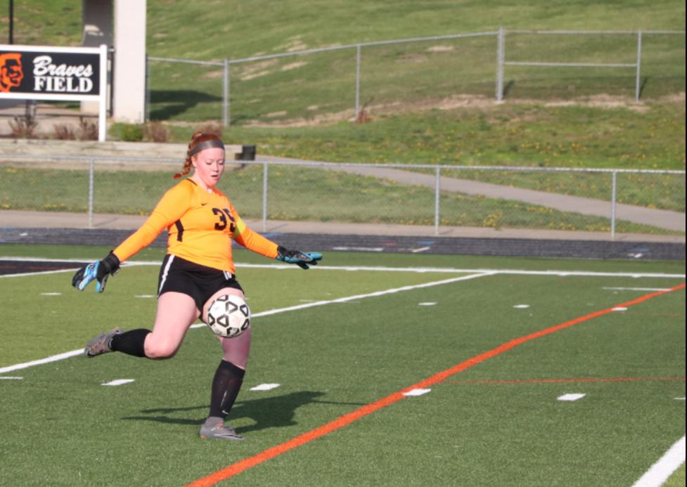 Senior Alex Rivers takes a goal kick.