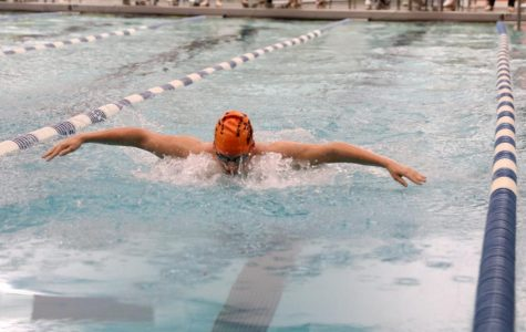 Senior Mykael White swims the butterfly at the WYCO championship meet.